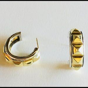 Lagos Caviar 18k Gold 2 Tone 925 Hoop Earrings
